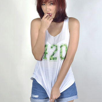420 Weed Shirt Tank Top Clothing Women Tshirt