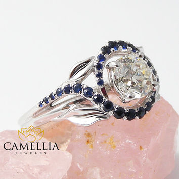 14KT White Gold Engagement Ring, Blue Sapphire Engagement Ring, Unusual Engagement Rings