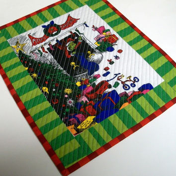 Grinch Snack Mat Mug Rug Coaster Dr. Seuss Christmas Quilted