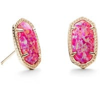 Kendra Scott: Ellie Stud Earrings In Fuchsia Kyocera Opal
