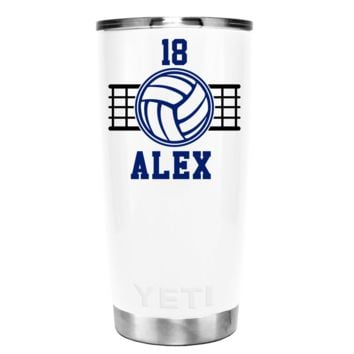YETI 20 oz Personalized With Number VolleyBall on White Gloss Tumbler