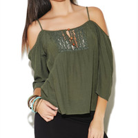 Cold Shoulder Peasant Top | Wet Seal