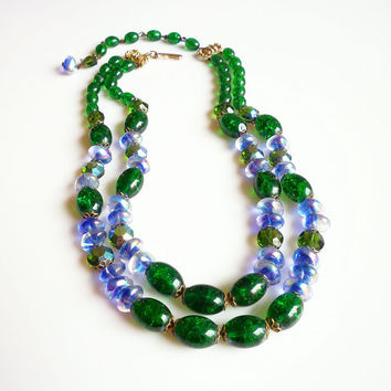Hobe Necklace, Glass Bead, Lampwork, Crackle, Art Glass, Blue Green Purple, Vintage Jewelry