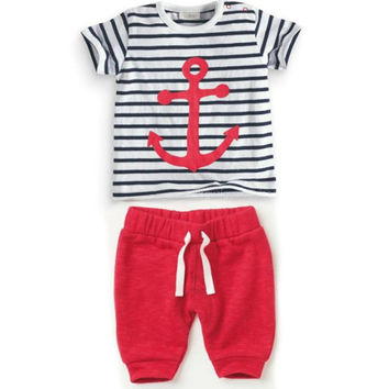 Hot Sales Infant Baby Boys Sets Striped T-shirt Tops+Red Pants 2pcs Outfits Toddlers Suits Clothes 0-3Y