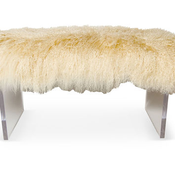 Curly LoLo Bench, Beige, Acrylic / Lucite, Entryway Bench