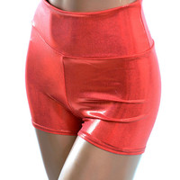 Christmas Red Mystique Metallic Sexy Spandex High Waist Pinup Shorts  -E7494