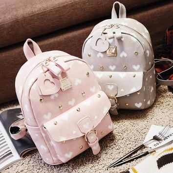 2017 new sweet lady peach heart women's shoulder bag PU leather geometric pattern popular women backpack