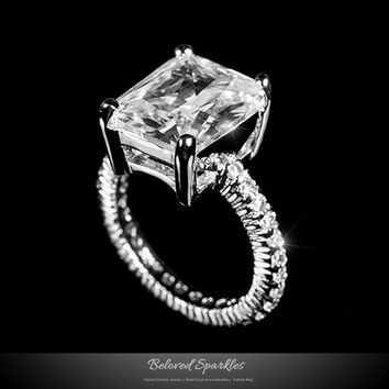 Marlene Radiant Cut Engagement Ring | 6 Carat | Sterling Silver | Cubic Zirconia