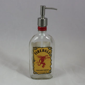 Fireball Dispenser, Soap Dispenser, Lotion Dispenser,  Upcycled Bottle