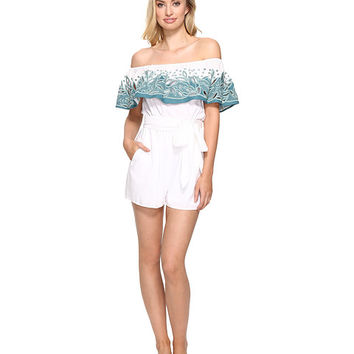 Mara Hoffman Embroidered Off the Shoulder Romper White/Sage - Zappos.com Free Shipping BOTH Ways