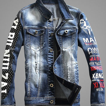 Plus Size Button Up Polka Dot Letter Print Long Sleeve Ripped Denim Jacket