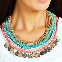 Savannah Bead And Coin Statement Necklace