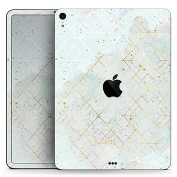 "Karamfila Watercolor & Gold V3 - Full Body Skin Decal for the Apple iPad Pro 12.9"", 11"", 10.5"", 9.7"", Air or Mini (All Models Available)"