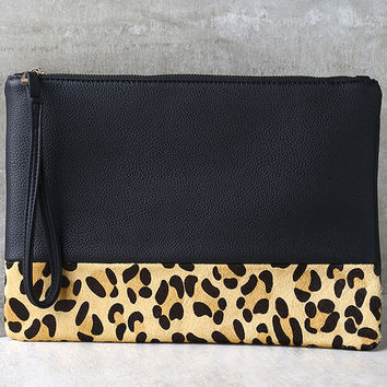 Spot-acular Black and Pony Fur Leopard Print Clutch