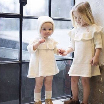 new winter baby girls sweater with hat cotton casual toddler kids sweaters dress infant knitwear ruffles children clothing