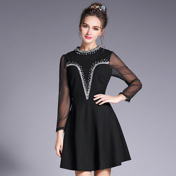 Sequined Sheer Sleeve A Line Little Black Dress Women Plus Size Embellished Beaded Party Dresses l to 5xl