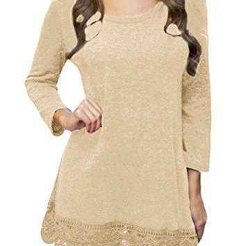 POZON Women's Long Sleeve A-line Lace Stitching Trim Casual Dress
