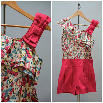 80s Does 50s Playsuit - Vintage Eighties Color Block Hot Pink Print Rockabilly Shorts Jumpsuit Ruffled Bow Neck One Shoulder Size S Small