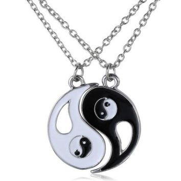Vintage necklace  Friendship yin yang puzzle pendant chain