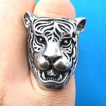 Fierce Tiger Lion Shaped Animal Ring in Silver with Animal Print Details | DOTOLY