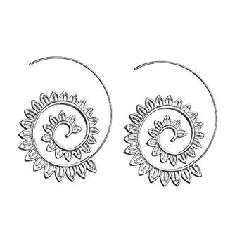 Exaggerated vintage bohemian spiral earrings circle round tribal hoop jewelry Swirl earrings for women