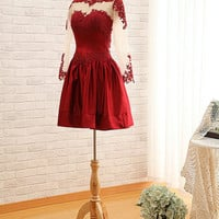 Long Sleeve Prom Dress Short Red Lace Prom Dresses 2014 Sexy See Through Back Lace Prom Dress Short Red Lace Long Sleeve Evening Dress