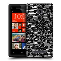 Head Case Designs Damask Black Lace Protective Snap-on Hard Back Case Cover for HTC Windows Phone 8X