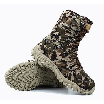 Men Winter Warm Wool Fleece Thick Leather Army Tactical Boots Spring Outdoor Hiking Camping Hunting Breathable Camouflage Shoes