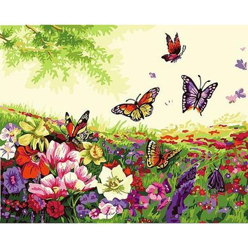 Frameless Romantic Butterfly DIY Painting By Numebrs Kits Acrylic Paint  On Canvas Home Wall Art Picture For Room Decoration
