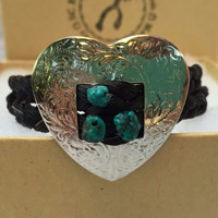 Maggie ~ Heart Concho Bracelet with Turquoise Beads