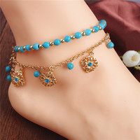 Vintage Women Ankle Bracelets Bohemian Foot Jewelry Turquoise Beads Alloy Anklets