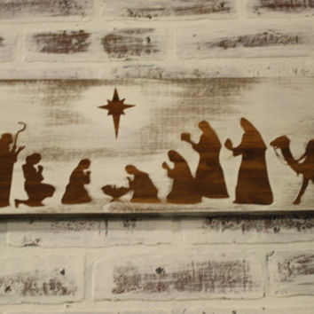 Christmas Nativity Scene Sign, Christmas Décor, Christmas Sign, Holiday Sign