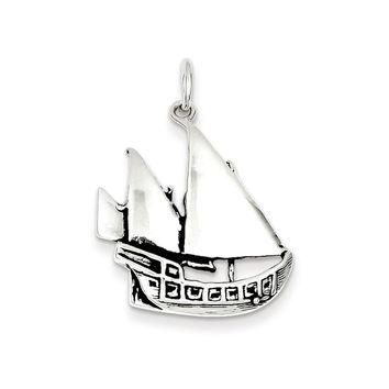 Sterling Silver Antiqued Boat Charm
