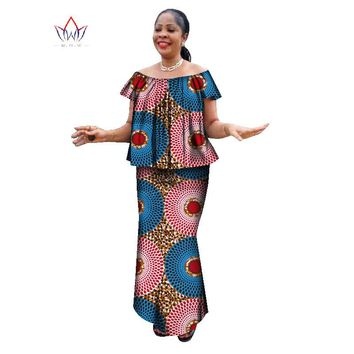 summer  skirt set african designed clothing traditional bazin print Bazin Riche plus size skirt set  o-neck party dress WY1357