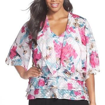 Plus Size Women's Alex Evenings Floral Print Tiered Chiffon Tank & Cascade Front Jacket,