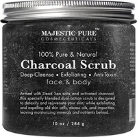 Majestic Pure Activated Charcoal Body and Facial Scrub, Natural Skin Care, Face Cleanser - Promotes...