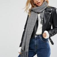 New Look Lightweight Herringbone Skinny Scarf at asos.com