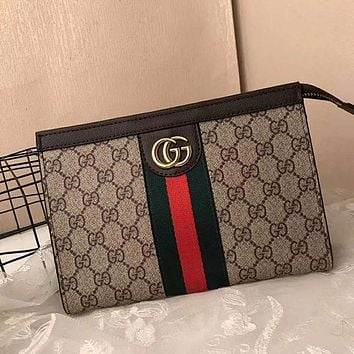 GUCCI Woman Men Envelope Clutch Bag Leather File Bag Tote Handbag