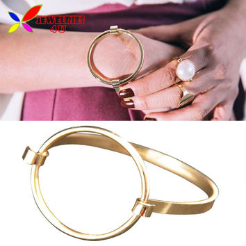 2016 New Fashionable Rock & Roll Gold Silver Plated Big Circle Geo Bangles & Bracelets for Women pulseiras de couro
