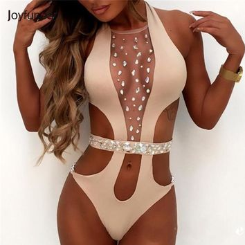 Joyfunear Summer Hot Crystal Bodysuit Sexy Hollow Out Women Overalls 3 Colors Luxery Sequin Beach Suit Playsuit