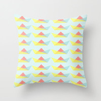 Pillow Cover, Throw Pillow, Boat Pattern, Triangles, Nursery Room Pillow, 16x16 Pillow Decorative, Home Decor, Blue Pillow - The Boat Party