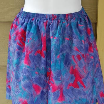 Vintage 80s Saucony Abstract Print High Waisted Running Exercise Shorts Built In Underwear Womens Size S/M