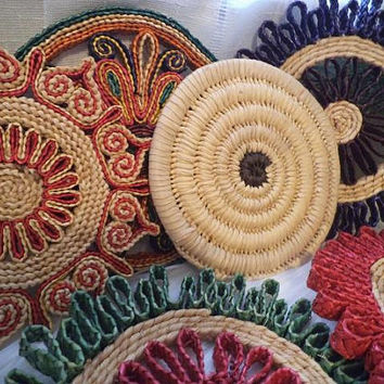 6 Vintage Bohemian Woven Pot holders ~ BOHO Festive wall art ~ Mexican wall art