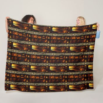 African Tribal Tapestry Motif Fleece Blanket