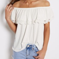 White Crochet Flounce Off-Shoulder Top | Cold Shoulder | rue21