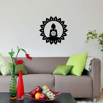 Wall Vinyl Decal Lotus Flower Buddha Sacred Indian Nelumbo Nucifera Buddhist Symbol Buddhism Sign Interior Decor Sticker Art Murals SV2008