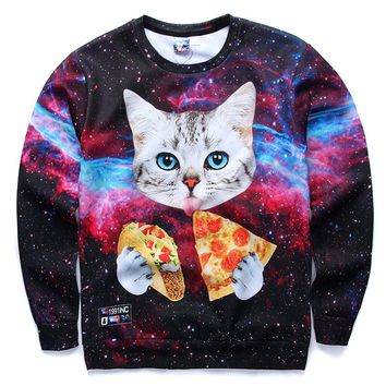 Kitty Cat Eating Tacos and Pizza in Space Universe All Over Print Sweater