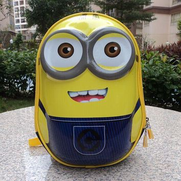 3D cartoon backpack small yellow paint people hard shell schoolbags double strap nursery school bags Animation characters bag