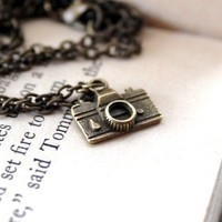 Oh Snap Antique Bronze Camera necklace on an 18 inch by mydogandi