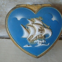 Vintage Jewelry or Trinket Gold  Metal Box Unique Ship Blue Red lined